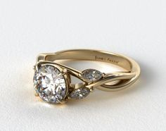 50919 engagement rings, side stones, 18k yellow gold wispy nature diamond engagement ring item - Mobile