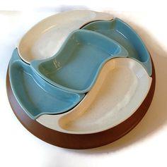 mcm aqua and white relish tray on lazy susan santa anita ware california pottery mcm dishes boomerang dishes chip and dip