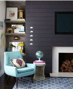 Love the painted slat wall with the rustic shelving
