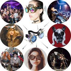 a4d7fa8403 8.71 18% de DESCUENTO|C F gafas de Color diferente lente Punk gafas Arco  Iris EDM gafas Unisex remache gafas Steampunk Cosplay Vintage gótico gafas  en De ...