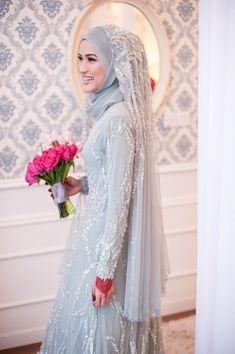 Ideas For Vintage Wedding Attire Bridal Style Hijabi Wedding, Kebaya Wedding, Muslimah Wedding Dress, Muslim Wedding Dresses, Muslim Brides, Wedding Attire, Bridal Dresses, Wedding Gowns, Bridesmaid Dresses