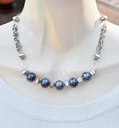 Antique Silver and Ceramic Beaded Necklace and Earring Set
