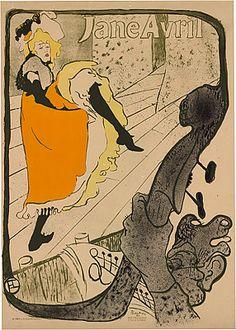 Arte Nova França Henri de TOULOUSE-LAUTREC, Jane Avril au Jardin de Paris, 1893
