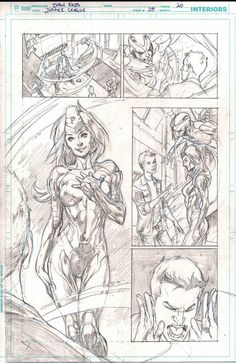 Justice League 28 page 10 pencils only Metal Men - Ivan Reis Comic Art