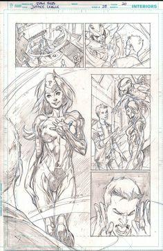 Justice League 28 page 10 pencils only Metal Men - Ivan Reis Comic Art