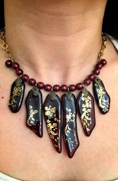 Necklace Murano glass - hand made-Bordeaux glass parts decorated with pure gold 24k - maroon beads with gold  pladed chain. by RachelGefenDesigns on Etsy https://www.etsy.com/il-en/listing/543457823/necklace-murano-glass-hand-made-bordeaux