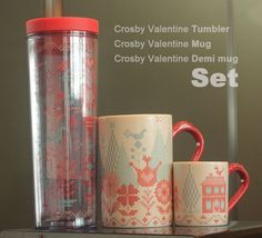 Valentineu0027s Day Starbucks Korea 2015 Crosby Valentine Tumbler +Mug +Demi Mug  SET