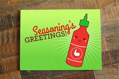 "New to TinyBeeCards on Etsy: Christmas Card or Holidays Card ""Seasoning's Greetings"" - Sriracha Pun Card Season's Greetings food pun funny card funny christmas card (4.50 USD)"