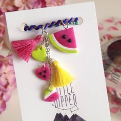 Cute Kawaii Watermelon bracelet  polymer clay by LittleDipperShop