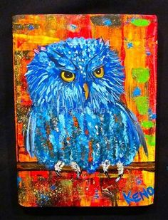 BLUE OWL~ BiRD~painting~Maine Abstract FOLK ART outsider~COASTWALKER