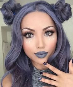 Lilac hair color for brown eyes