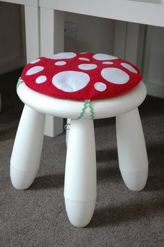 Toadstool Creature Cushion - Children/Kids Cushion for Ikea Mammut Stool / Chair. $22.00, via Etsy.