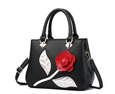 Mogor Womens Rose PU Leather Handbag Crossbody Bag TopHandle Shoulder Bags Tote Bag Black * Click image for more details.Note:It is affiliate link to Amazon.