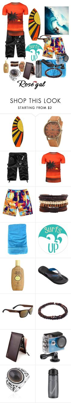 """""""Surfing"""" by sallytcrosswell ❤ liked on Polyvore featuring Judith Leiber, Fedeli, Sun Bum, Havaianas, Maui Jim, Esenelle, Kitvision, men's fashion and menswear"""