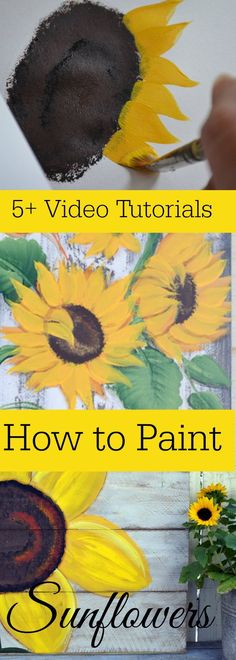 Easy and fun sunflower painting tutorials by different artists! Acrylic Painting Techniques, Painting Lessons, Painting Tips, Tole Painting, Painting & Drawing, Painting Canvas, Painting Flowers, Drawing Flowers, Canvas Canvas