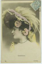 c 1905 Antique French Theater Music Hall CHRISTIANE Cabaret tint photo postcard