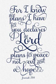 jeremiah 29:11...I live everyday by this verse