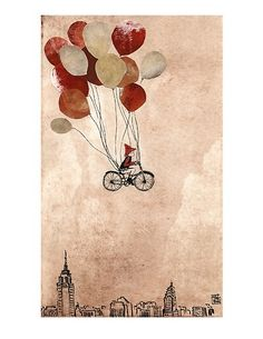 fox, bicycle, and balloons