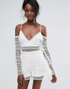 Missguided Crochet Cold Shoulder Romper. Romper by Missguided, Crochet lace, Partly lined, Plunge neck, Cold-shoulder design, Zip back, Regular fit - true to size, Hand wash.