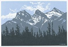 My art print honors Canmore's Three Sisters mountains Mountain Landscape, Landscape Art, Linocut Prints, Art Prints, Block Prints, Graphic Novel, Mountain Drawing, Art And Craft Design, Three Sisters