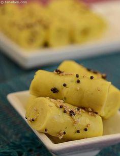 Khandvi ( Microwave Recipe ) recipe | Indian Microwave Recipes | by Tarla Dalal | http://Tarladalal.com | #685