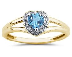 Heart Shaped Blue Topaz  and Diamond Ring, 10K Yellow Gold
