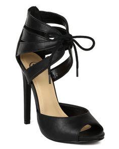 Delicious BA24 Women Leatherette Peep Toe Lace Up Caged Stiletto Heel Sandal Pump