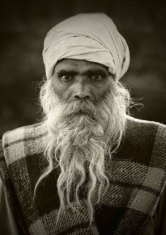 Portrait Of An Old Sadhu Wearing A Turban And A Long White Beard, Trichy, India | Flickr - Photo Sharing!
