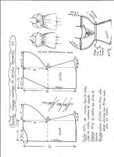 Esquema de modelagem de vestido de alcinha com manga morcego tamanho 54.
