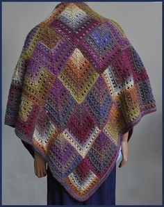 This is actually knit but I want to translate it into crocheted mitered squares