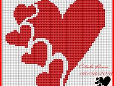Hearts and hearts Cross Stitch Heart, Cross Stitch Alphabet, Cross Stitch Kits, Crochet Snowflake Pattern, Crochet Cross, Cushion Embroidery, Embroidery Stitches, Wedding Cross Stitch Patterns, Loom Patterns