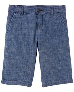 Chambray Uniform Shorts | oshkosh.com Boy Outfits, Toddler Outfits, Summer Family Portraits, Kids Boys, Chambray, Oshkosh Bgosh, Chino Shorts, Sock Shoes, Dress Codes