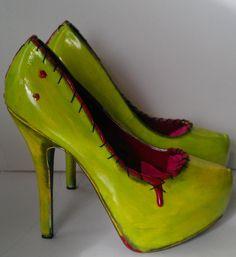 Zombie heels by TheGraveyardBetty on Etsy, $80.00