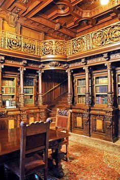 Library, Peles Castle, Sinaia, Romania.