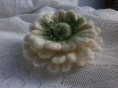 Hair Flower broochWhite Green Felt flower by FashionFeltProducts