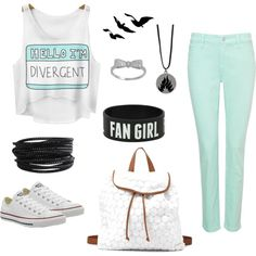 Divergent Fan Girl by savannahs-outfits on Polyvore featuring polyvore fashion style NYDJ Converse Charlotte Russe Pieces