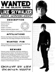 501st Legion - Alabama Garrison - Paper Props/Wanted: Luke Skywalker, Leia, Han