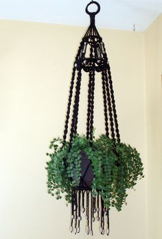 Black Macrame Plant Hanger with Metal Beads Eight spiral Legs 42 inches Handcrafted Unique by Hamptonfoxx on Etsy