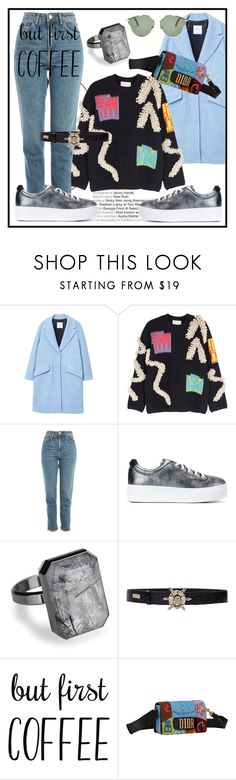 """But first..Coffee"" by elenzark ❤ liked on Polyvore featuring MANGO, Peter Pilotto, Topshop, Kenzo, Ringly, Philipp Plein and Christian Dior"