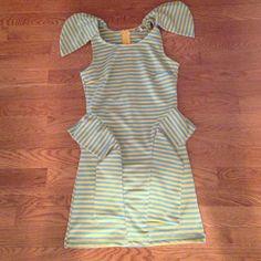 Blue And Yellow Strap Peplum Dress
