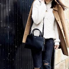 Camel coat, cable knit and our Millbank Bank Medium Zip Top Grab Bag - the perfect autumn attire. As seen on @lafotka