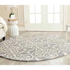 Safavieh Handmade Cambridge Moroccan Blue/ Silver Casual Wool Rug (6' Round) (CAM133D-6R), Size 6' (Cotton, Geometric)