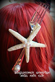 Little Mermaid Dinglehopper Starfish Ariel hair clip