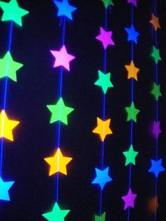 You wont believe the glow power of these colorful strands! This is a super fun, whimsical and inexpensive way to dress up a black light/neon party. These 2 stars have been sewn together with strong, quality thread. You can select the length you prefer, and you can purchase as many