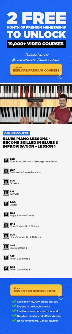 Blues Piano Lessons - Become Skilled in Blues & Improvisation - Lesson 1 Blues, Music Production, Beginner, Piano, Creative, Play, Piano Lessons, Play By Ear, Improvise #onlinecourses #onlineuniversity #onlinetrainingproducts   Do you want to be able to sit down at the piano,without music, and just play? If so, this course is for you. Specially created for those of you wanting to learn Blues pia...
