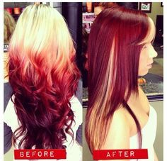 http://wallpaper222.com/explore/reverse-red-ombre/  Reverse would be a cool idea, especially the roots would grow in darker than this blonde, and the tips would lighten, so it would be almost a brand new ombre style