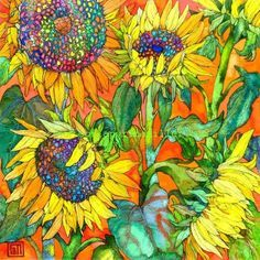 Sofia Perina-Miller/Sunflowers Digital Print x cm Art And Illustration, Illustrations, Art Floral, Watercolor Flowers, Watercolor Paintings, Watercolors, Sunflower Art, Wow Art, Botanical Art