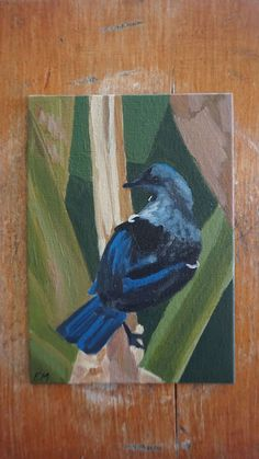 Tui perched on a banana tree. Oil on canvas panel. New Zealand, Oil On Canvas, Birds, Painting, Painted Canvas, Painting Art, Bird, Paintings, Oil Paintings