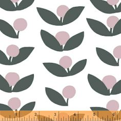 """Glimma Pink Grey Berries on White "" - Fabric by Lotta Jansdotter for Windham"