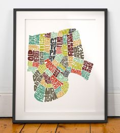 New Orleans Typography Map Art Print formed from its by joebstudio